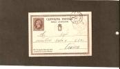 LOMBARDO VENETO SU ITALIA-CHIOGGIA  CARTOLINA POSTALE CENT. 10 ANNULLO L.V. TIPO C1 - 1861-78 Vittorio Emanuele II