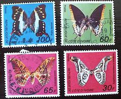 COTE D´IVOIRE: Papillons (yvert: 440a/d) Oblitéré. Serie Complete 4 Valeurs Emise En 1977 - Boissons