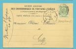 """83 Op Kaart Met Firmaperforatie (perfin) """" F. """" Van """"CHARBONNAGES DE FONTAINE-L'EVEQUE - 1909-34"""