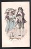 Enfants élégamment Habillés. Grand Chapeau, Dentelles, Rubans. Genre Viennoise Aquarellée. Bonne Année. - 1900-1949