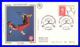 """2709 Sur FDC Illustrée Sur Soie - """"Albertville 92"""" Jeux Olympiques D'hiver Ski Artistique - France 1991 - FDC"""