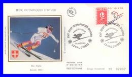 """2710 (Yvert) Sur FDC Illustrée Sur Soie - """"Albertville 92"""" Jeux Olympiques D'hiver - Ski Alpin - France 1991 - FDC"""