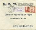 CARTA   De  Tolosa  A  S. Sebastian ( Sello Cruzada Contra El Frio )  - Censurada - 428 - 1931-Oggi: 2. Rep. - ... Juan Carlos I