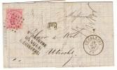 20 LP 77 Charleroy (11 Gr = 2 Ports Préférentiels) Sur Lettre Du 29 Oct 67 Vers Utrecht; Au Verso : Hollande Nord N° 1 - 1865-1866 Perfil Izquierdo
