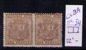 CUBA 1875 - ESCUDO DE ESPAÑA - EDIFIL Nº 34 (PAREJA HORIZONTAL) - Elobey, Annobon & Corisco