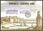 España Hoja Recuerdo 1983 HR America España. Matasellada - Commemorative Panes