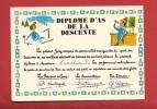 N386 Diplome D'as De La Descente à Ski Et Au Bar, Décerné à P. Lorétan.Cachet 1983.Dessin De R. Allouin - Humour