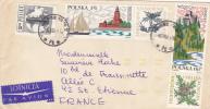 MARCOPHILIE,LETTRE,POLOGNE,POLAND,POLSKA,POCZTA,POSTAMP,6 TIMBRES,CAD WARSZAWA,VARSOVIE,1965,POUR FRANCE,st Etienne