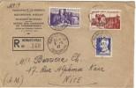Lettre Recommandée De Monaco Ville Pour Nice. 03 Juin 1947. Poste Aérienne - Marcofilia