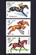 USSR Russia 1982 Equestrian Sport Sports Animals Horse Breeding Riding Horses Fauna Mammals Stamps MNH Michel 5148-5150 - Horses