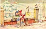 MAGNIFIQUE  Illustrée : Enfants Chantant Dans La Neige .Chien, Chat, Oiseau, écureuil. - Enfants