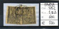 PAR010 - DUCATO DI PARMA 1852 5 CENT. COPPIA USATA SU FRAMMENTO - Parma
