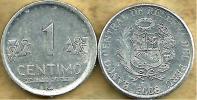 PERU 1 CENTIMO WRITING FRONT EMBLEM BACK 2008 KM? READ DESCRIPTION CAREFULLY !!! - Pérou