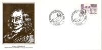 Grande Env Fdc France+feuille D´or, 29/9/84 Paris, N°2329a,personnages Célèbres, Corneille, Dramaturge, Plume - 1980-1989