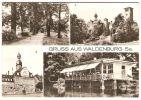 """DDR Sachsen, Waldenburg Mehrbildkarte Gel. 1979, BuH Reichenbach (Rathaus, Schloß/ Klinik, Gaststätte """"Parkschlößchen"""") - Waldenburg (Sachsen)"""