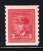 Canada Scott #265 MNH 3c Dark Carmine - Coil - George VI War Issue - Coil Stamps