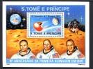 SAINT THOMAS ET PRINCE 1980, 10e Anniversaire 1er Homme Sur La Lune, 1 Bloc, Neuf. R269 - Africa