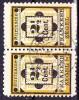 SURINAME 1892 Hulpzegel 2½ Cent Geel / Zwart Paartje Met Type II En I  NVPH 22 A + 22 - Suriname ... - 1975
