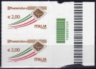 ITALIA 2009 - Ordinaria € 2,00 (coppia) - Codice A Barre   (NT !) - Codici A Barre
