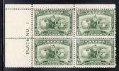 Canada Scott #194 MNH 13c Britannia Upper Left Plate #1 Block - Num. Planches & Inscriptions Marge