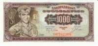 Yugoslavia #75, 1,000 Dinara 1.5.1963, Banknote Currency - Yugoslavia