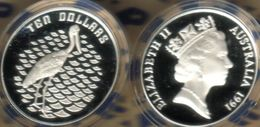 AUSTRALIA $10 JABIRU BIRD BIRDS 2ND IN SETQEII HEAD1YEAR 1991 PROOF PIEDFORT 1.5 Oz SIL  READ DESCRIPTION CAREFULLY !!! - Monnaie Décimale (1966-...)