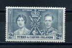 TURKS  AND  CAICOS    1937    Coronation   2d   Grey  Black    MH - Turks & Caicos
