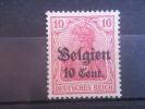 BELGIUM, 1914, MH 10c On 10pf,  GERMANY OCCUPATION, Scott N3 - WW I