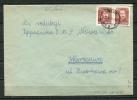 Poland 1950 Wielun Groszy Provincionals T5 On Cover To Warszawa Pair - 1944-.... Republic