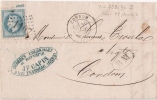 GERS Condom LAC 1869 Boite Mobile Vic Fezensac - Postmark Collection (Covers)