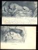 POSTCARD SWITZERLAND LUCERNE LUZERN LOWENDENKMAL 2 CARDS LION DE CIRCA 1902227 AND JJ 48 - LU Lucerne