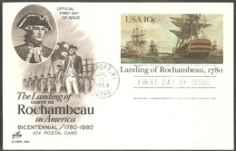 USA. Scott # UX84 FDC Postal Card. 200th Anniv. Landing Of Rochambeau.  Joint Issue With France 1980 - Gezamelijke Uitgaven