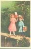 Illustration:ENFANTS Apportant Des Fleurs-Style Art Nouveau - Repro D´une Carte Ancienne-Nieuwe Postk./Carte Post. Neuve - Illustrateurs & Photographes