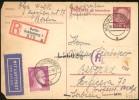 3rd REICH REPLY AIR MAIL R-POSTAL CARD BERLIN TO BELGRADE 1943 - Briefe U. Dokumente