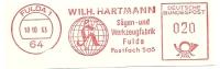Germany Nice Cut Meter Wilh. Hartmann, Sagen- Und Werkzeugfabrik, Fulda 18-10-1963  Globe - Fysica