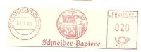 Germany Nice Cut Meter Schneiber- Papiere, Ettingen 2-1-1961 - Scheikunde