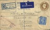 REGISTERED  VALUES  LETTER  FROM   KIRKCALDY ,  SCOTLAND --KRAKÓW   1948. - Airmail