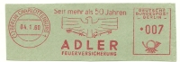 Germany Nice Cut Meter ADLER Feuerversicherung, Berlin Charlottenburg 4-1-1960 - Brandweer
