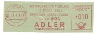 Germany Nice Cut Meter ADLER Feuerversicherung, Berlin Charlottenburg 27-4-1961 - Brandweer