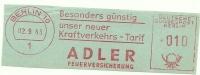Germany Nice Cut Meter ADLER Feuerversicherung, Berlin 2-9-1963 - Brandweer