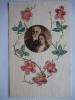 Carte Avec Morceaux De Timbres Représentant Des Fleurs - Timbres (représentations)