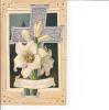 Easter Greetings Silver Cross Opens To Poem And Painting Of Lily And Church Scene - Easter