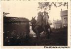 PHOTO ALLEMANDE   QUESNOY LE MONTANT 1940   SOLDATS SUR UN ANE - France