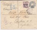 LEVANT ANGLAIS - 1901 - ENVELOPPE ENTIER POSTAL RECOMMANDEE CHARGEE De CONSTANTINOPLE (TURQUIE) Pour LONDRES - FISCAL - British Levant