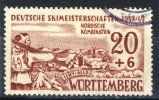 1949 Germany Wuerttemberg 20+6 Pfennig  Carmine Brown Ski Championships Used - French Zone