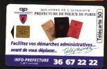 Télécarte 50u Utilisée Luxe     Prefecture De Police       F587   Du 09/ 1995 - France