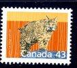 Canada 1987 Canadian Animals Definitives, 43c Lynx, MNH - 1952-.... Reign Of Elizabeth II