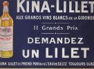 PLAQUE - PUBLICITE SUR CARTON - Vins Blancs KINA LILLET - Plaques En Carton