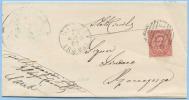 STORIA POSTALE LAZIO 1881 UMBERTO C. 10 ISOLATO SU PIEGO ANNULLO NUMERALE SBARRE SEZZE 23.8.81 TRANSITO ROMA (DCL3428) - 1878-00 Umberto I