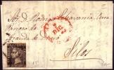 1850, 7 De Diciembre Carta A Silos (Burgos) Franqueada Con 6 Cuartos De 1850 Plancha II Ed 1A - Briefe U. Dokumente